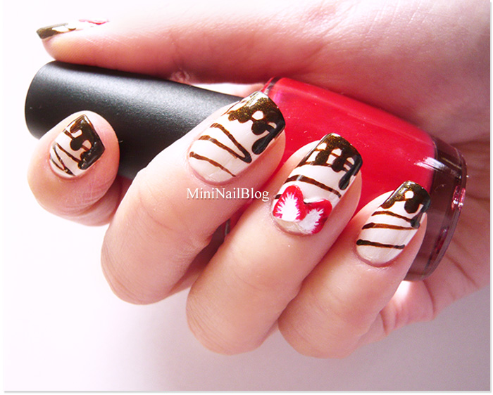 Valentines Chocolate Drizzle Nails