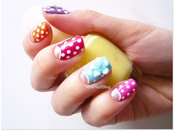 Colourful Half Moon Nails