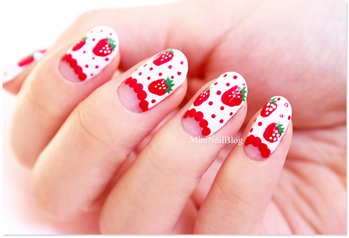 Easy Strawberry Nail Art