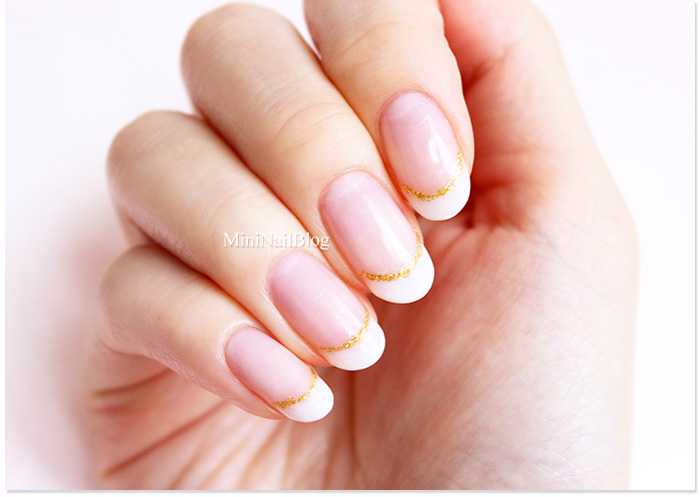 French Nails With Gold Line