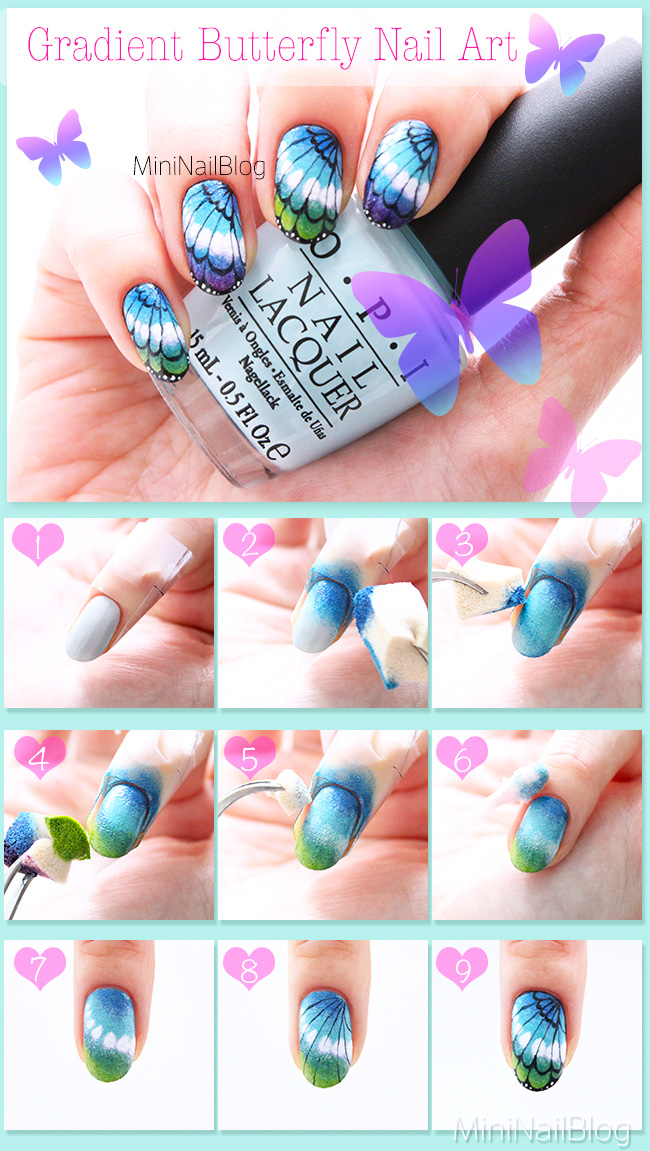 Light Blue Acrylic Nails With Butterflies