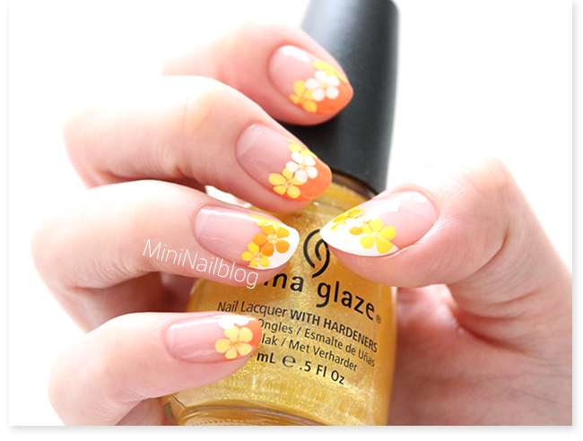 Orange Flower French Nails