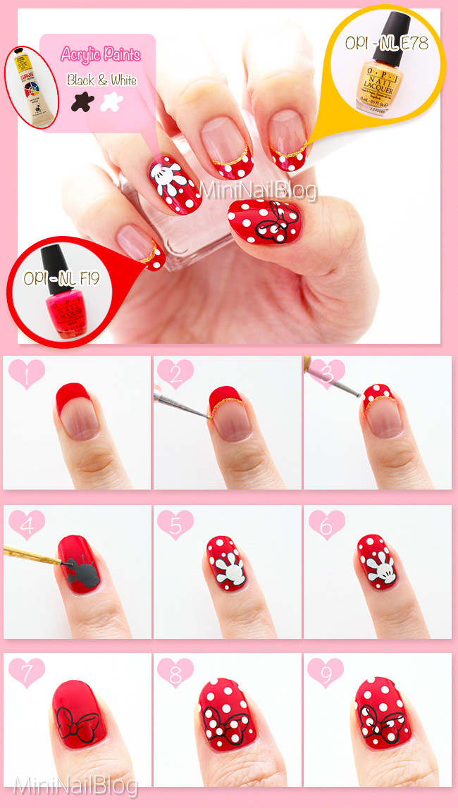 Minnie Mouse Nail Art Tutorial