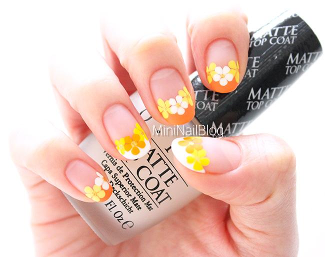 Orange Flower Nail Art