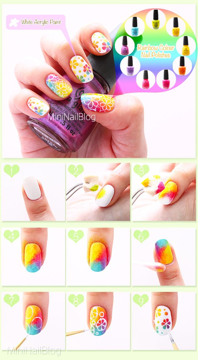 Rainbow Flower Nails Tutorial