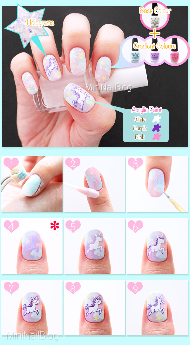 Unicorn Nail Art - Unicorn Nail Art Nailbees