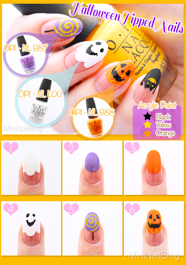 Halloween Tipped Nails Tutorial