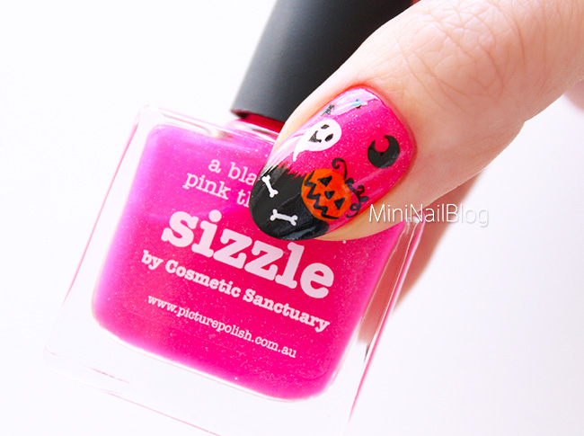 Pink Halloween Nail Art Sizzle