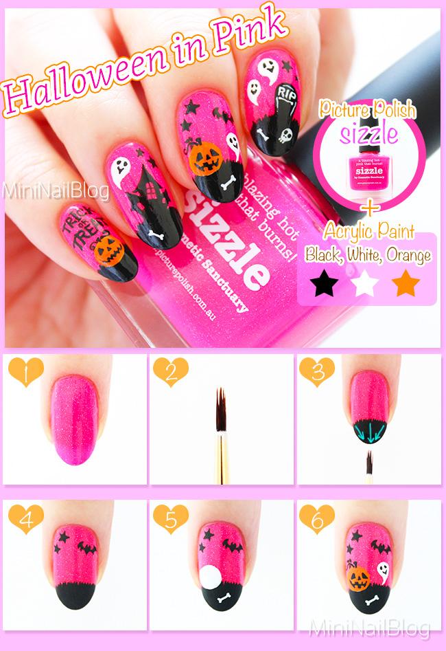 Pink Halloween Nails | nailbees
