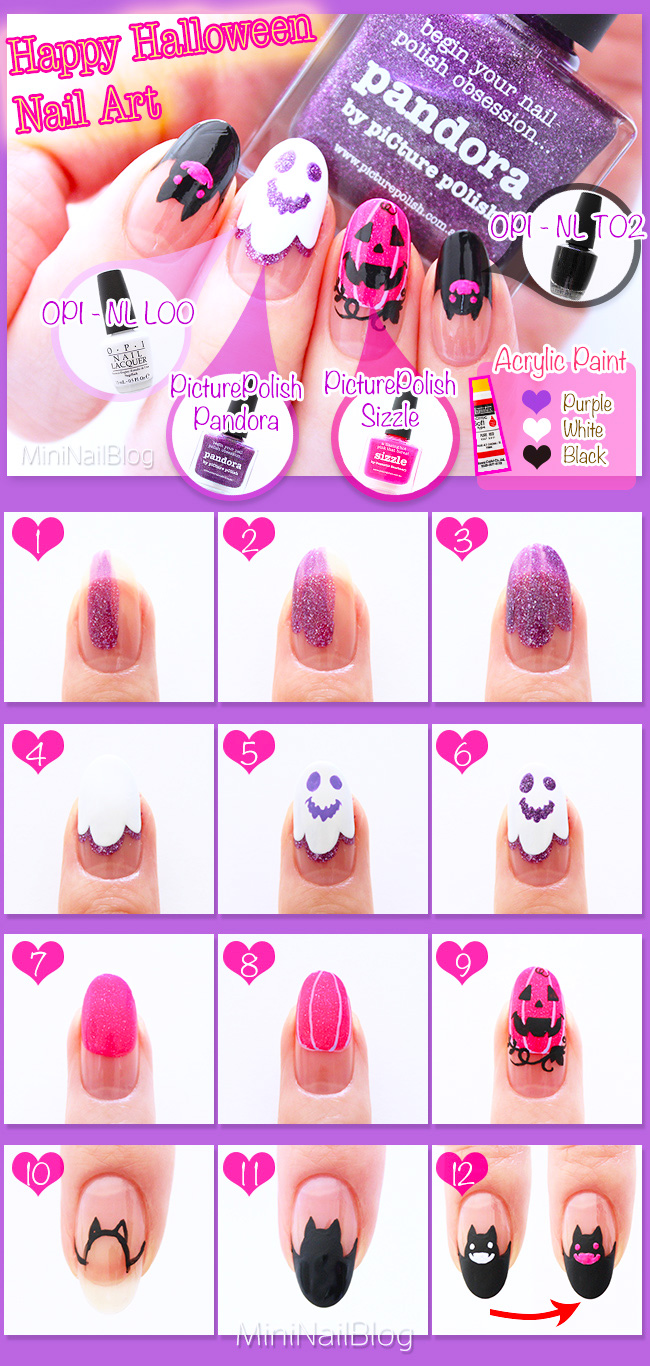 Purple Halloween Nail Art Tutorial