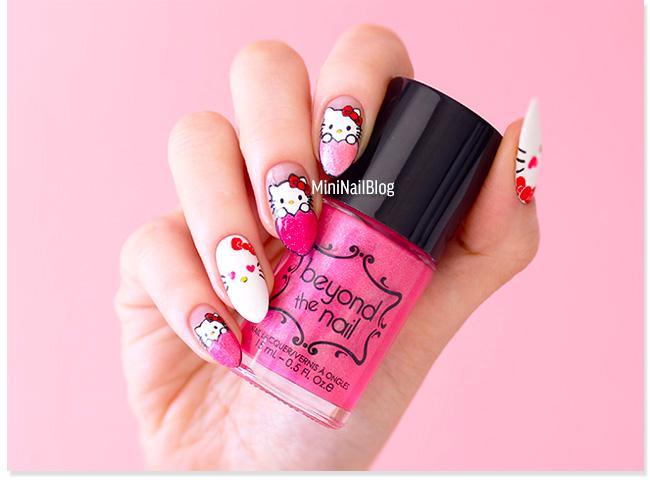 Heart Hello Kitty Nails