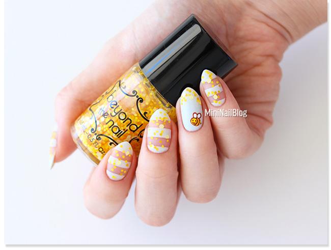Striped Bee Nail Art