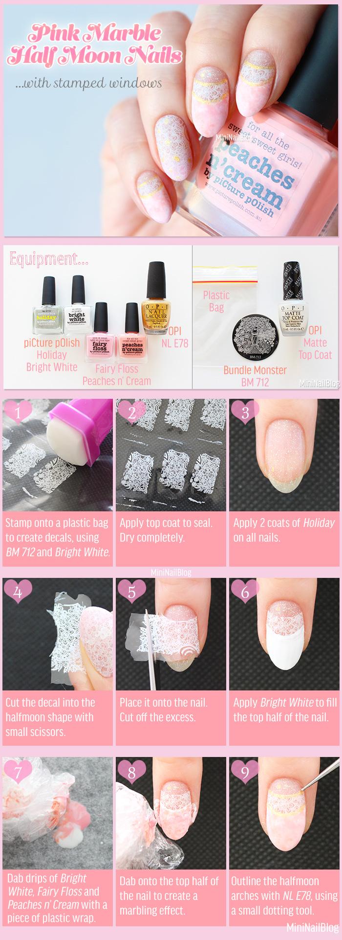 Pink Marble Half Moon Nails Tutorial