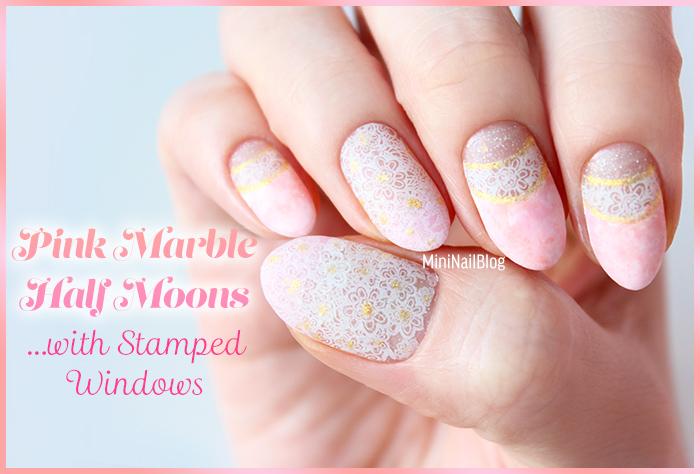 Pink Marble Half Moon Nails