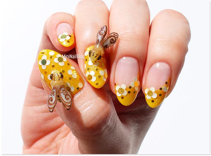 Yellow Flower Nail Art