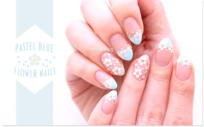Pastel Blue Flower Nails