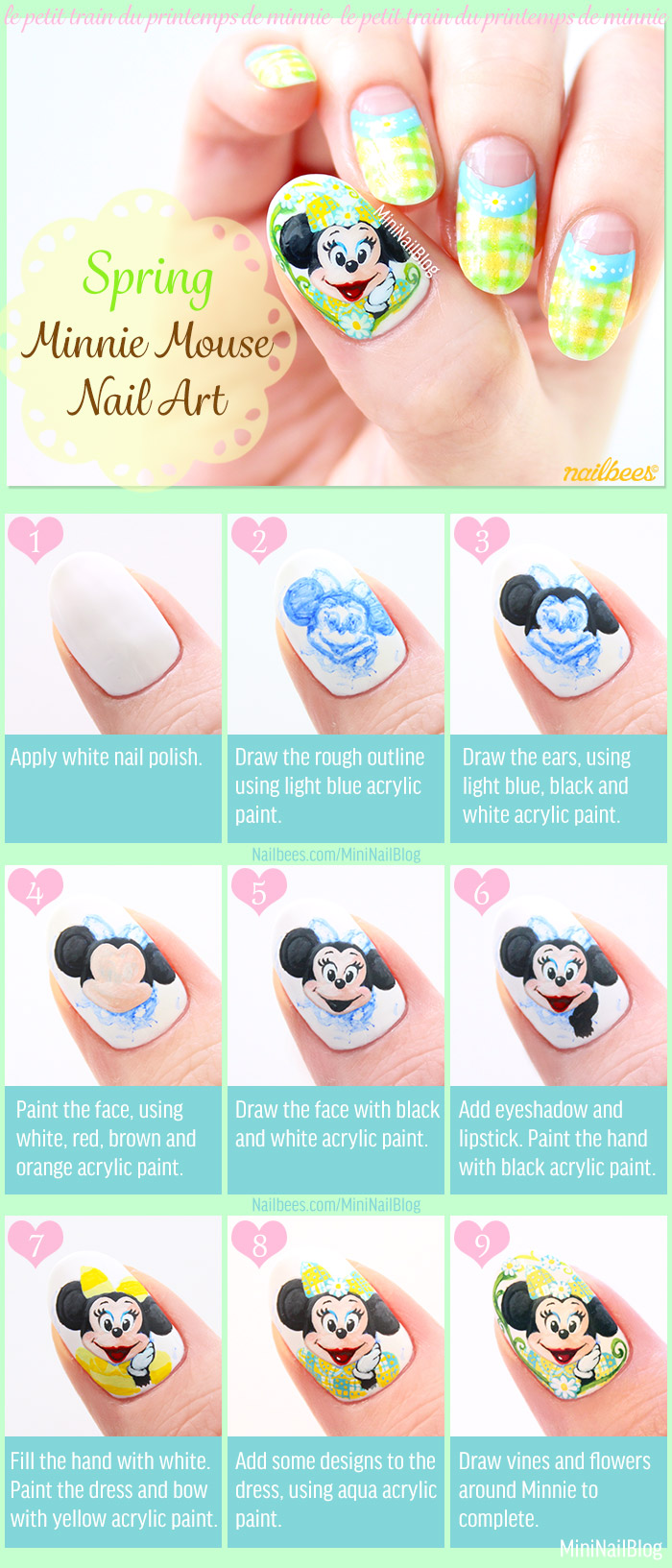 Spring Minnie Mouse Nail Art Tutorial
