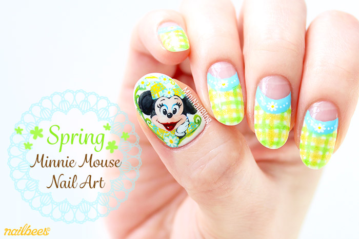 Spring Minnie Mouse Nail Art