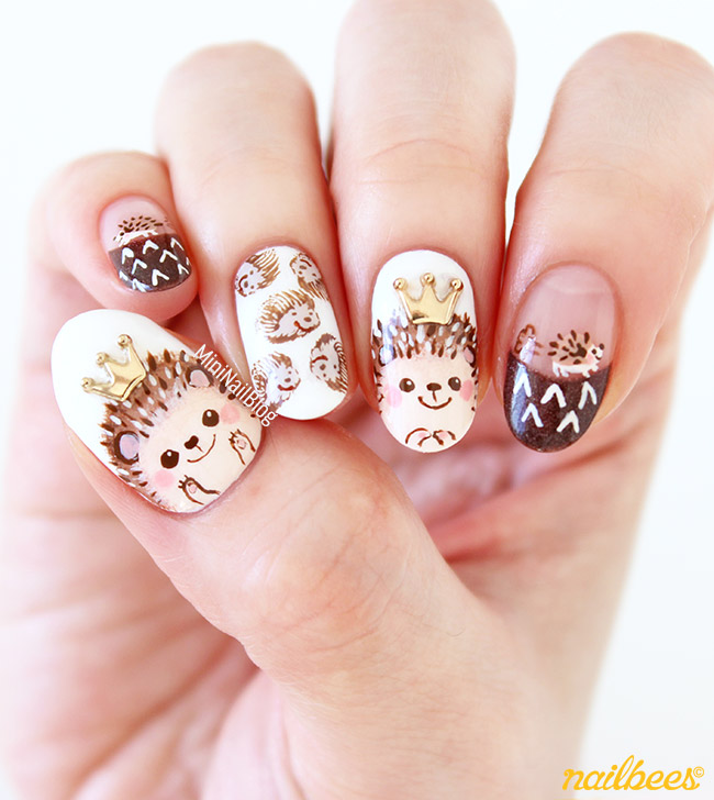Prettyfulz Fall Nail Art Design 2011: Hedgehog Nail Art