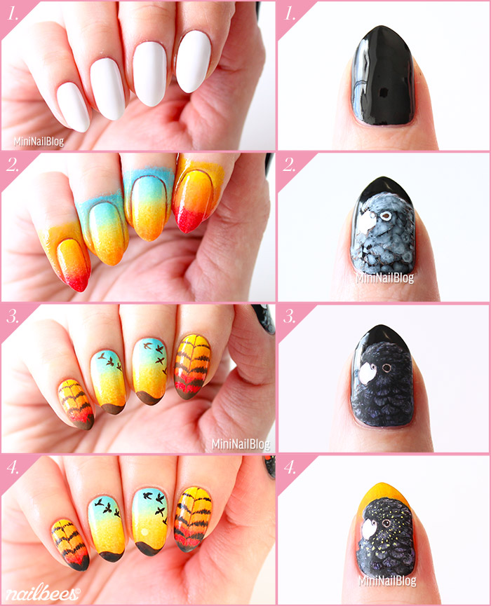 Red Tailed Black Cockatoo Nail Art