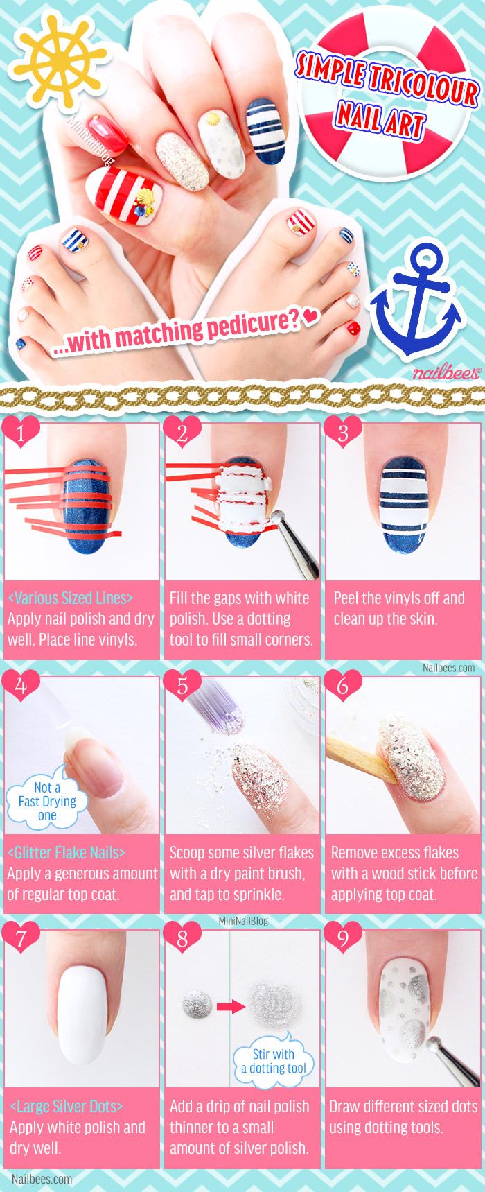 Simple Tricolour Nail Art Tutorial