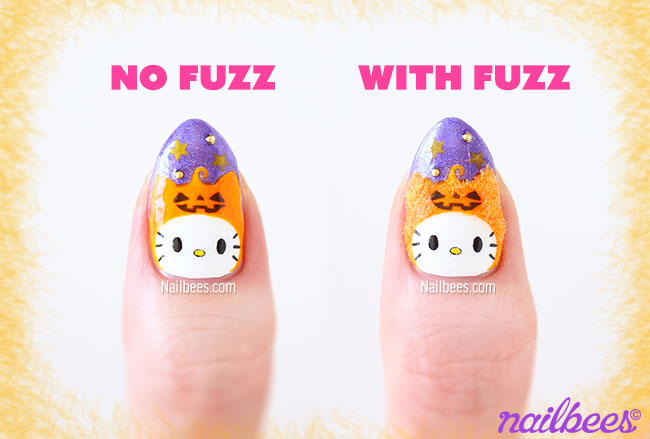 Velvet Halloween Kitty Nail Art | nailbees