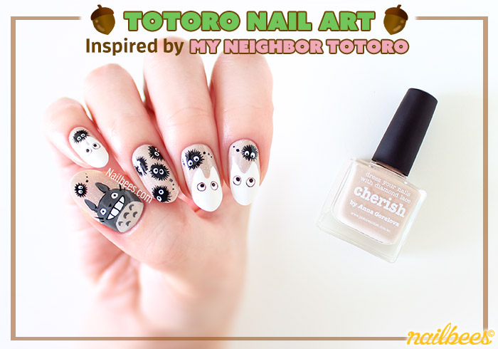 Totoro Inspired Nail Art