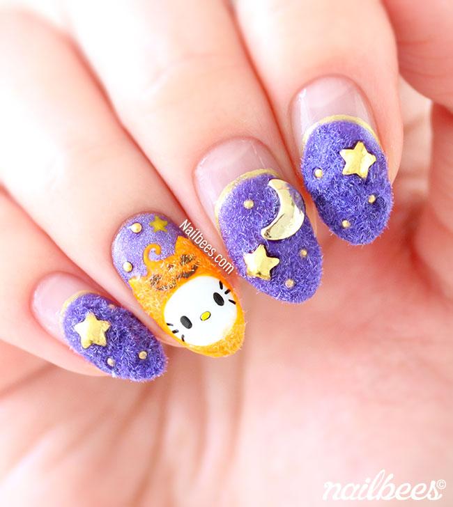 Velvet Halloween Kitty Nail Art Nailbees