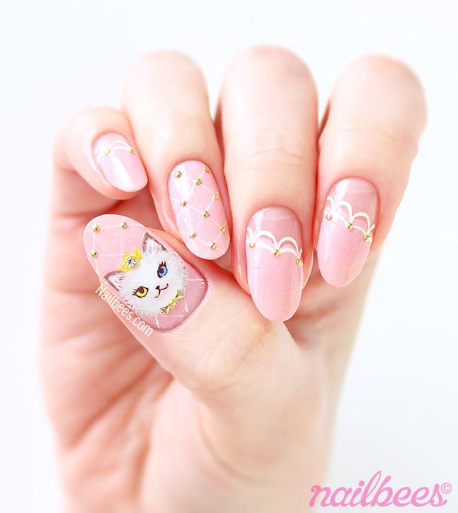Fluffy Cat Nail Art - Cat Princess Nail Art Nailbees