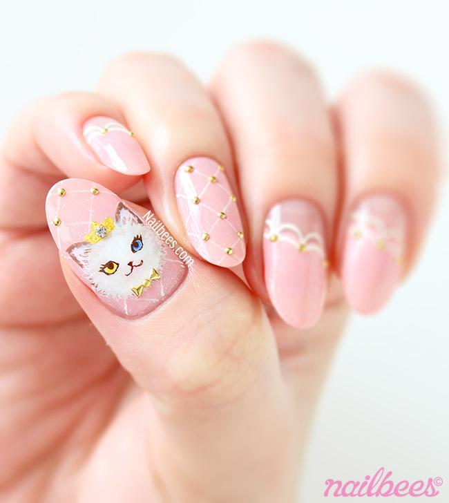 Pink Cat Nail Art