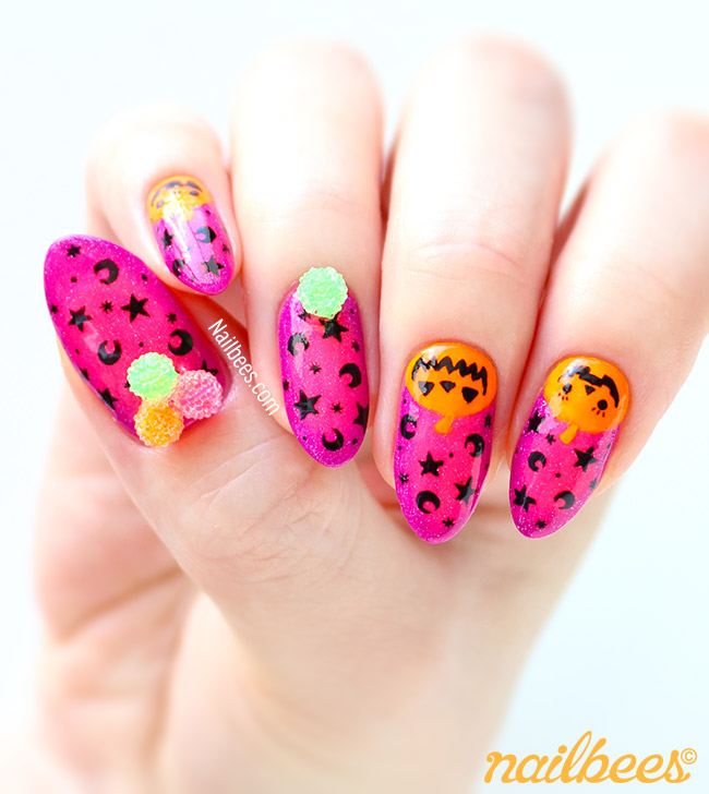 Pink Halloween Nail Art Design