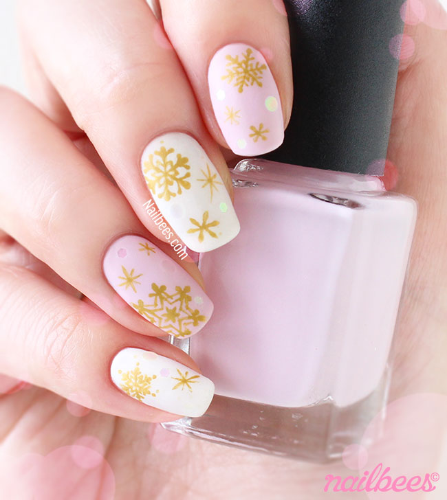 Pink white and gold nail design white and gold nail designs view images nail art design gold snowflakes on matte pink and white nails prinsesfo Choice Image