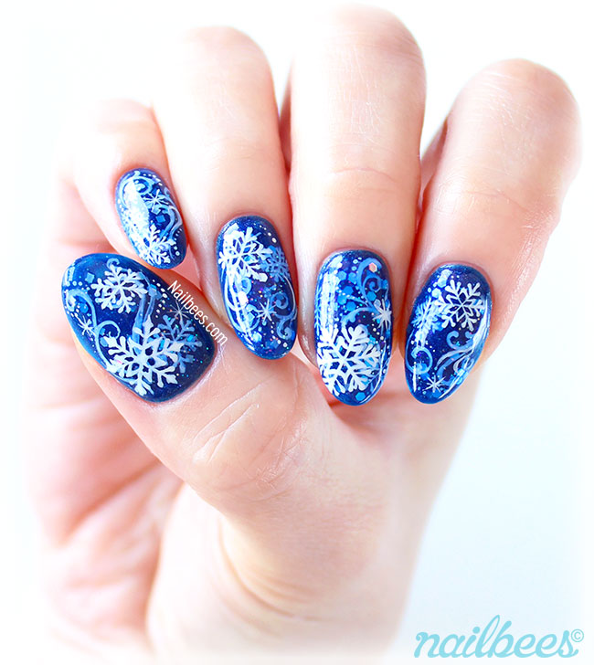 layered snowflake nail art nailbees