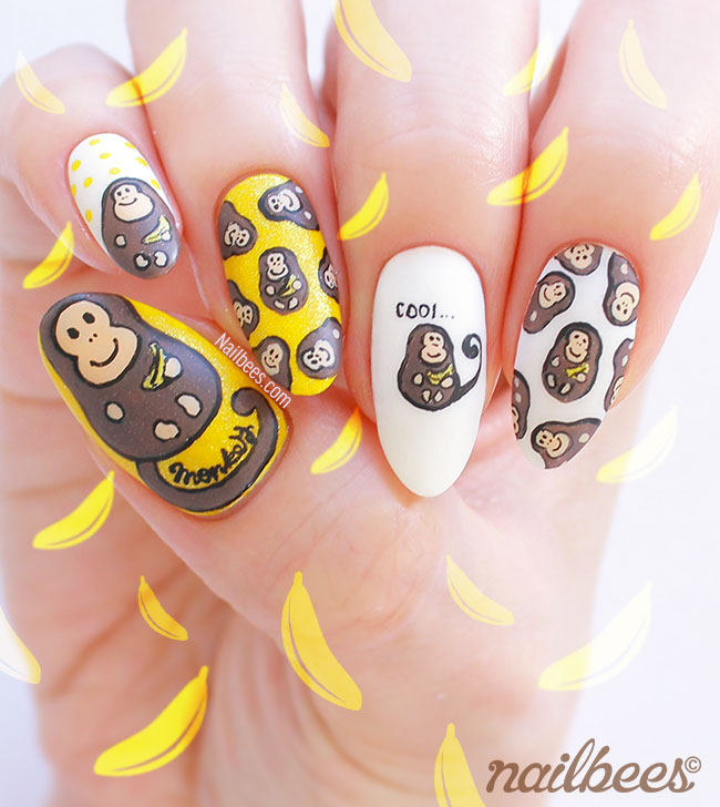 Monkey Banana Nail Art