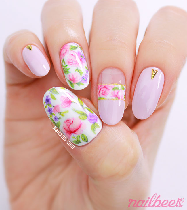 Hand Painted Rose Nail Art