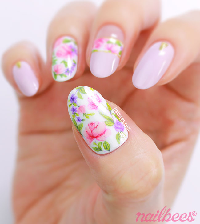 Intricate Rose Nail Art