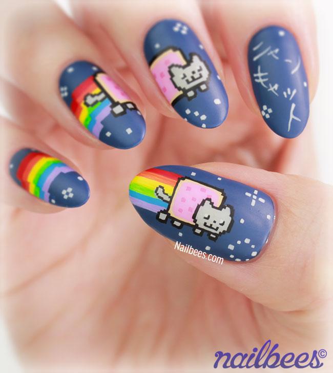 Nyan Cat Nail Design