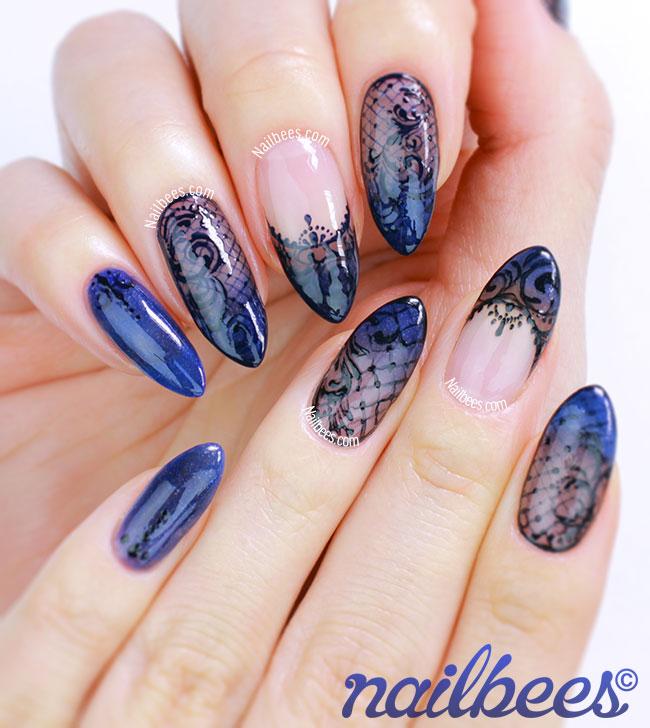 Black and Blue Nail Art
