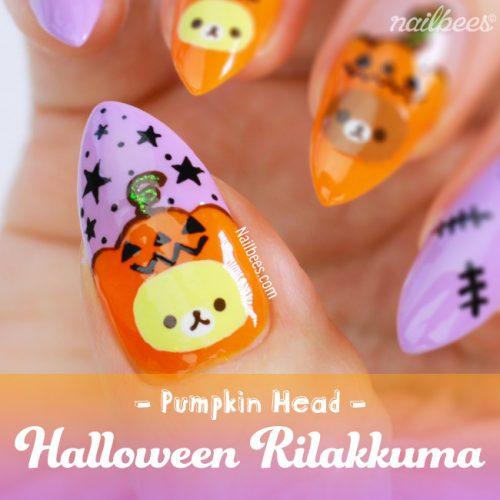 Halloween Rilakkuma Nail Art