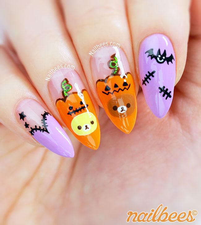 26 Impossible Japanese Nail Art Designs: Halloween Rilakkuma Nail Art