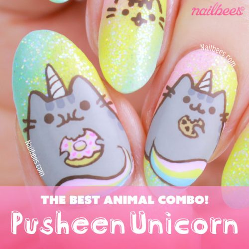 Pusheen Unicorn Nail Art