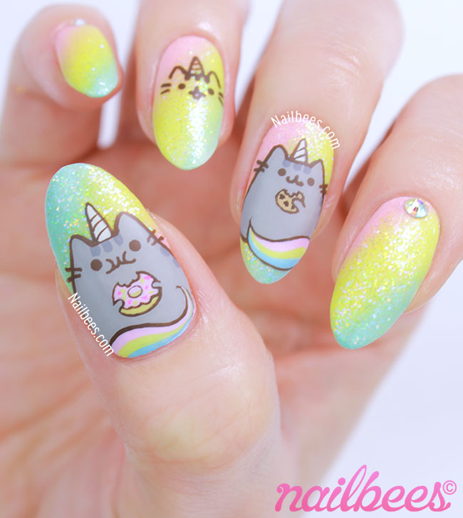 Pusheen Unicorn Nail Art - Pusheen Unicorn Nail Art Nailbees