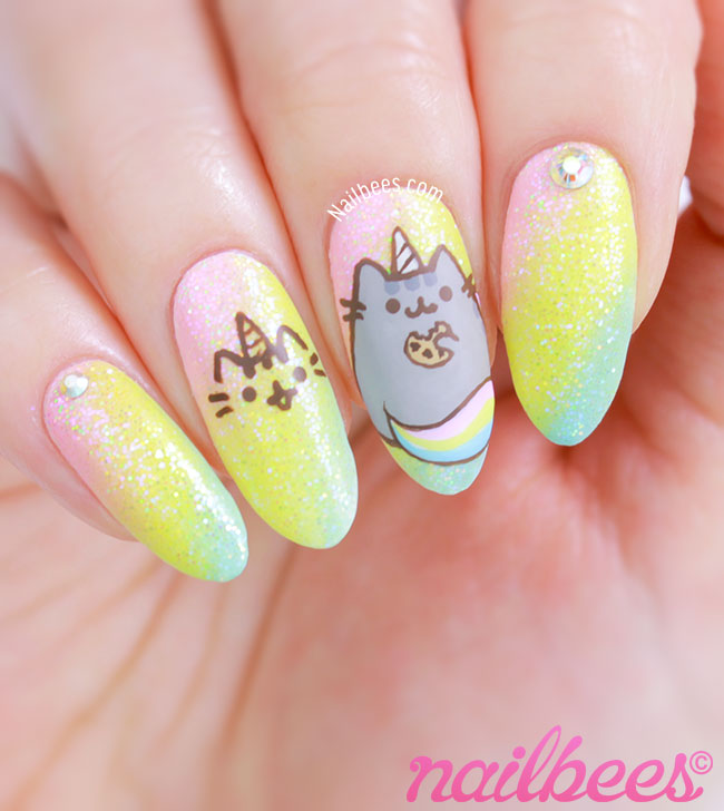 Pusheen Unicorn Nails - Pusheen Unicorn Nail Art Nailbees