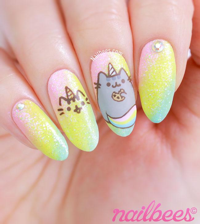 Pusheen Unicorn Nails