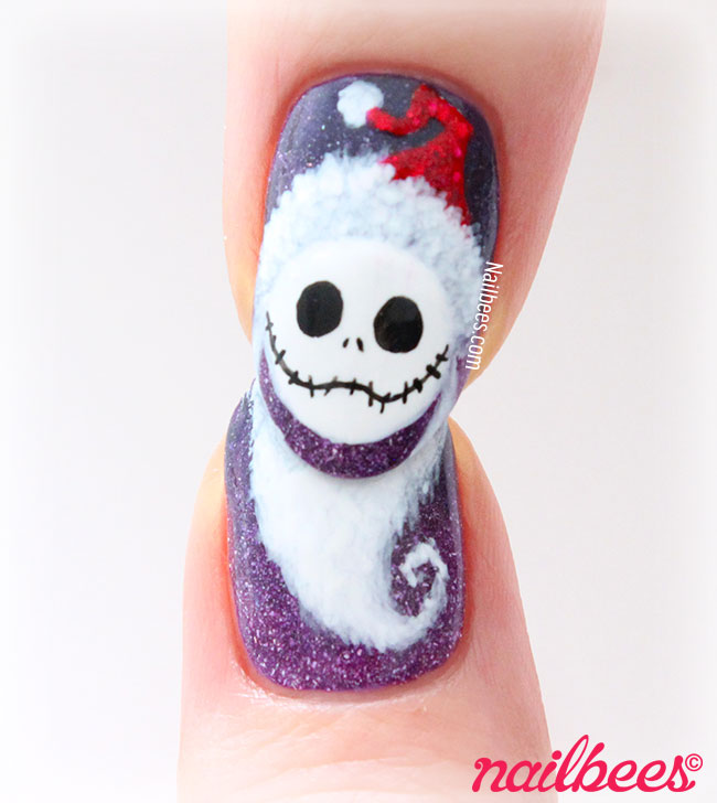 Jack Skellington Christmas Nail Art