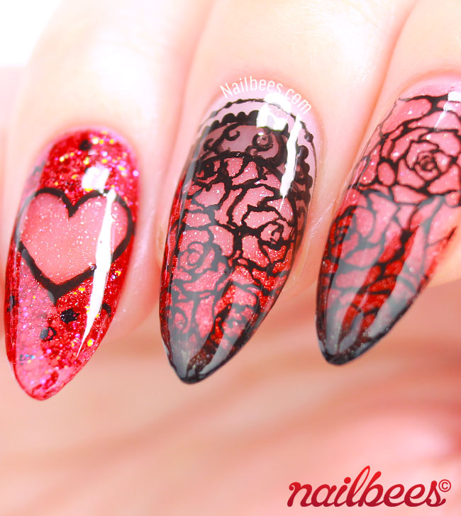 Valentines Day Nail Art Roses