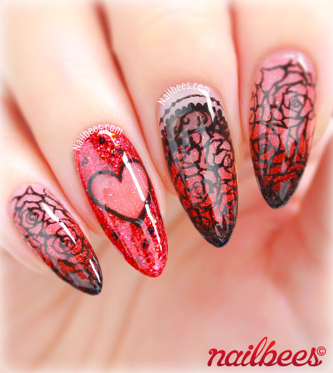 Valentines Day Nails Roses