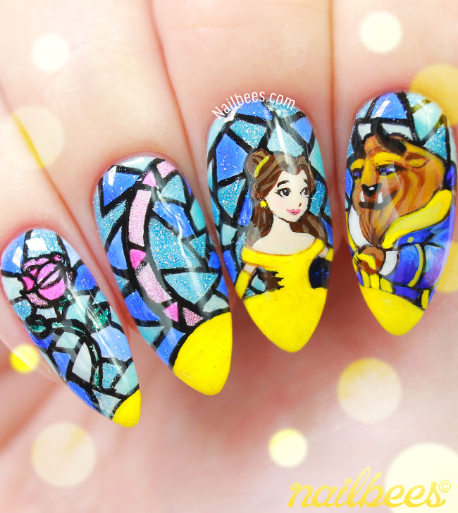 Beauty And The Beast Stained Glass Nails