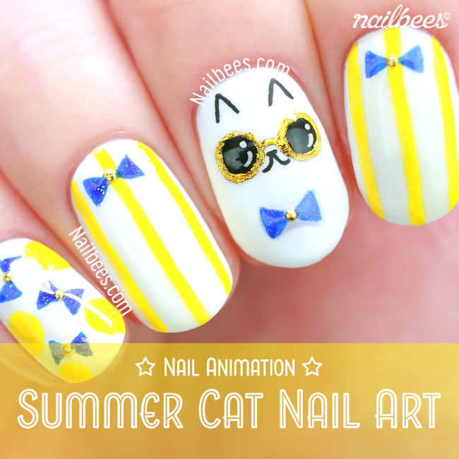 Summer Cat Nail Art