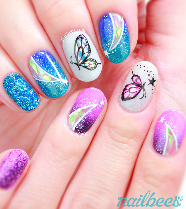 Blue Purple Butterfly Nails